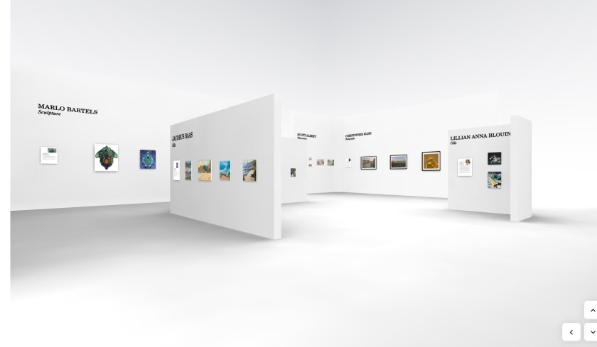 A view of the three-dimensional Gallery 1 in the virtual Festival of Arts of Laguna Beach.