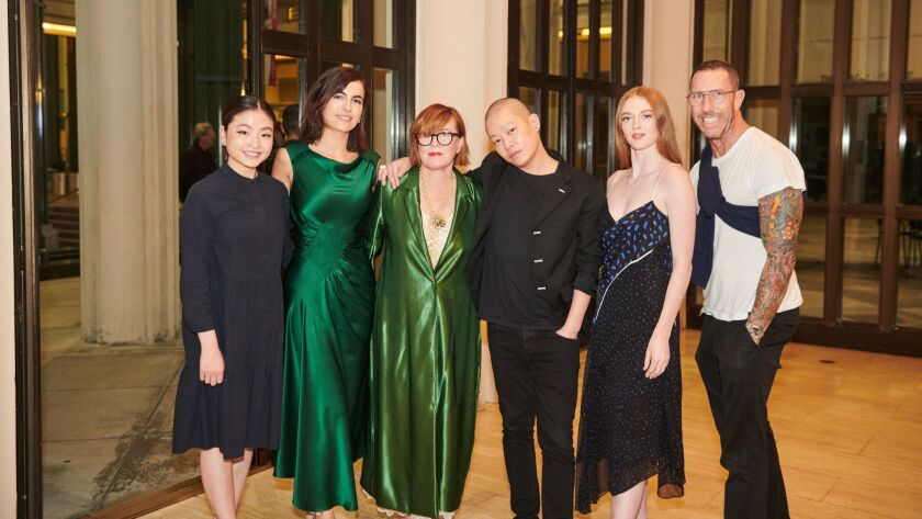 Maia Shibutani, from left, Camilla Belle, Mary Martin, Jason Wu, Larsen Thompson and Chris McMillan at the Los Angeles County Museum of Art's Bing Theater.