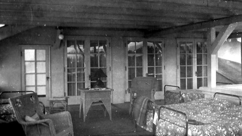 Sleeping porch on the second story of the Lanterman House, circa 1920. (Courtesy of the Lanterman H