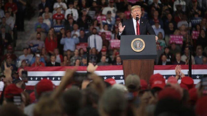 President Trump Holds Rally In Topeka, Kansas