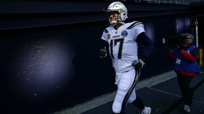 FOXBOROUGH, MA, SUNDAY, JANUARY 13, 2019 - Philip Rivers takes the field to take on the New England
