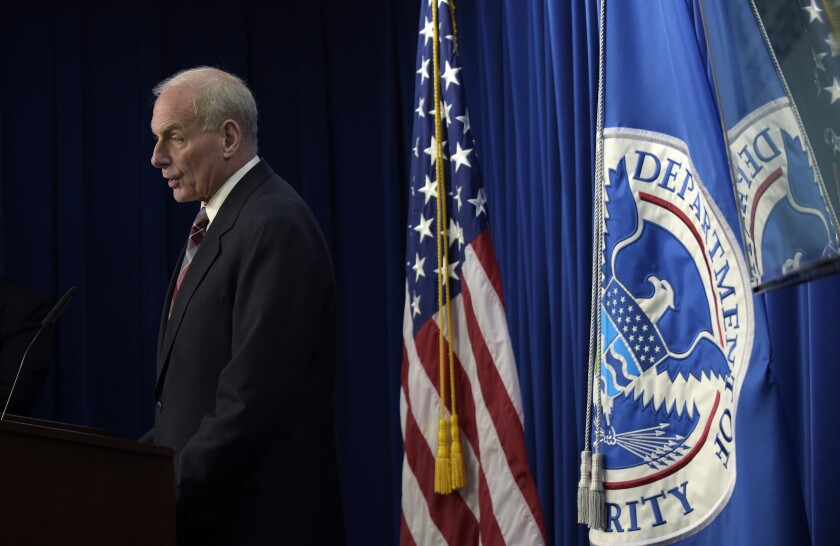 FILE - In this April 26, 2017, file photo, then-Homeland Security Secretary John Kelly announces the opening of the new Victims of Immigration Crime Engagement (VOICE) office during a news conference at Immigration and Customs Enforcement (ICE) in Washington. The Biden administration said Friday, June 11, 2021, that it dismantled the Trump-era office to assist victims of crimes committed by immigrants, a move laden with symbolism to reject a link between immigrants and crime. Former President Donald Trump created the office, known by its acronym VOICE, by executive order during his first week in office in January 2017. (AP Photo/Susan Walsh, File)