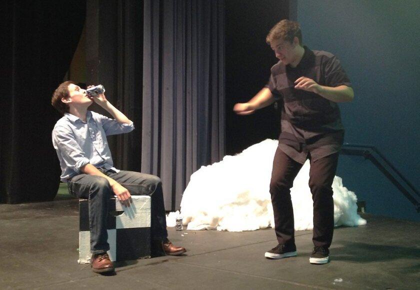 La Jolla High senior Noah Wilson (as Randy) and junior Vlad Jebran (as Chad) rehearse a scene from 'Almost, Maine.'