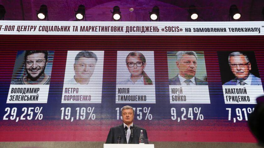 Ukrainian President Petro Poroshenko speaks at his headquarters after the election in Kiev on Sunday.