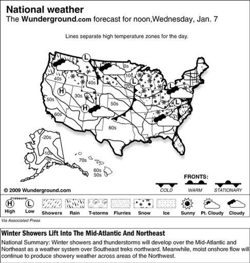 The national weather map from Weather Underground forecasts that winter showers and thunderstorms will develop over the Mid-Atlantic and Northeast as a weather system over Southeast treks northward on Wednesday, Jan. 7, 2009. Meanwhile, moist onshore flow will continue to produce showery weather ac