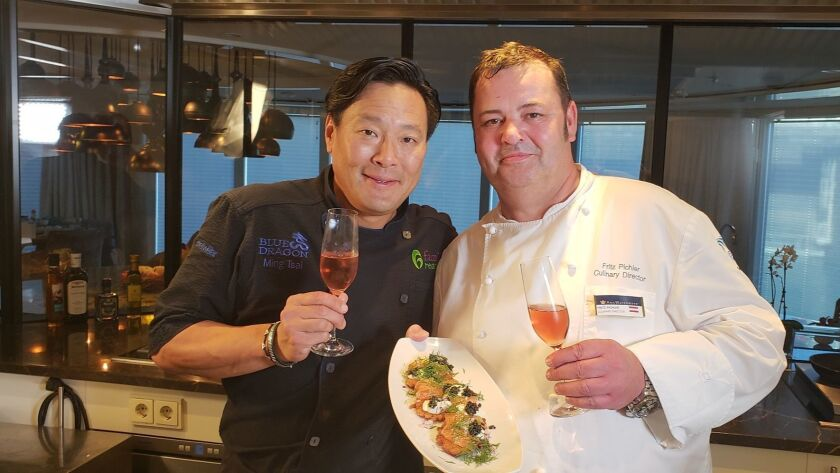 Master chef Ming Tsai, left, collaborated with Ama Waterways chefs for a series shot during a Rhine River cruise.