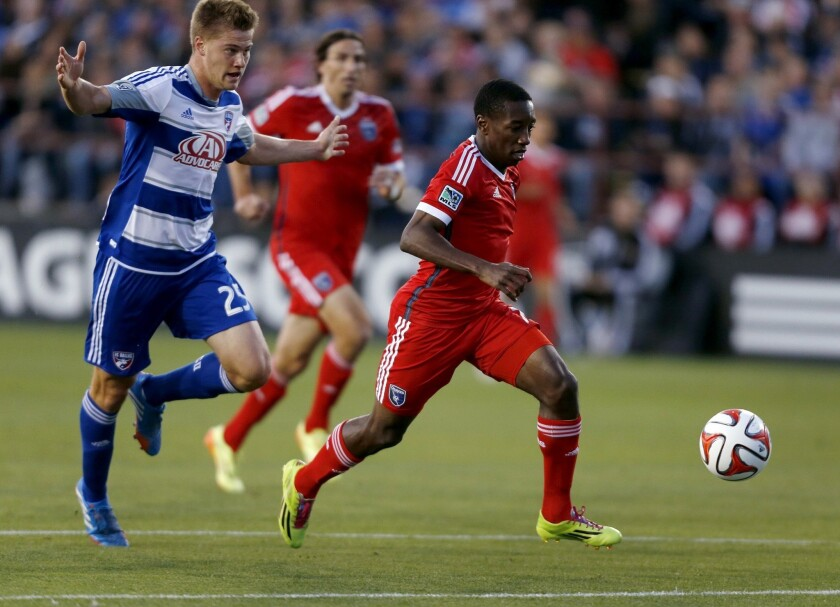 San Jose's Cordell Cato, right, gets the jump on FC Dallas' Walker Zimmerman on his way to scoring a goal in Buck Shaw Stadium in Santa Clara, Calif. on May 10.
