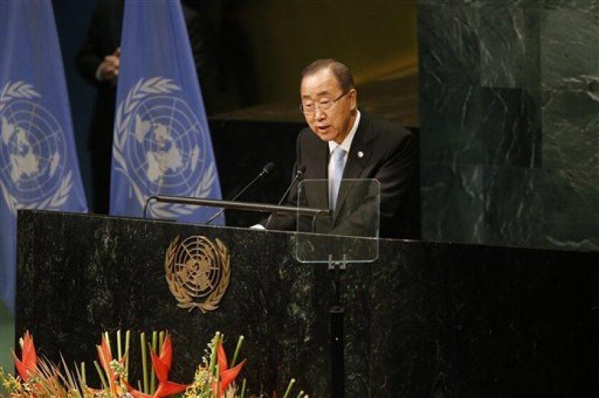 """Ban Ki-moon, secretario general de las Naciones Unidas, habla en un evento durante la 71ra sesión de la Asamblea General de la ONU en la sede del organismo, el miércoles 21 de septiembre de 2016. Los líderes mundiales aprobaron el miércoles una declaración de aspecto amplio enfocada en atender el problema del creciente número de infecciones resistentes a los antibióticos, algo que la OMS dice que tiene el potencial de matar a millones de personas y de socavar la economía global, y que ha comparado con """"un tsunami en cámara lenta""""."""