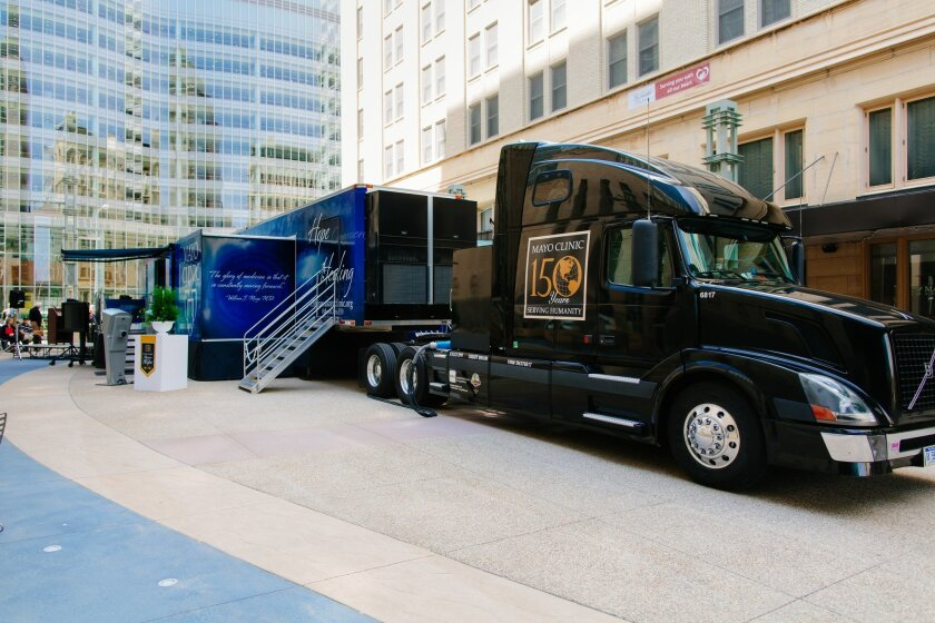 The Mayo Clinic 150th Anniversiary mobile exhibit.