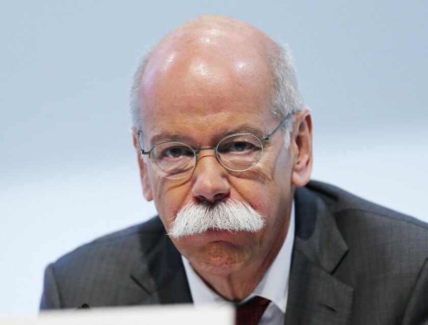 FILE - In this Feb. 5, 2015 file picture Daimler CEO Dieter Zetsche is photographed on occasion of the annual press conference of Daimler AG in Stuttgart, Germany. Car, truck and bus maker Daimler AG has given CEO Dieter Zetsche a  three-year extension of his contract Tuesday Feb. 16, 2016,  a few