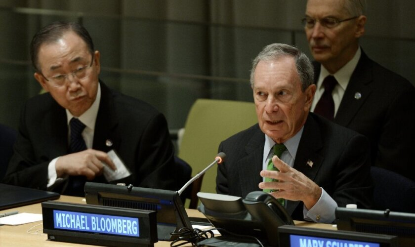 Former New York Mayor Michael R. Bloomberg speaks while United Nations Secretary-General Ban Ki-moon listens during a Jan. 27 event about climate change at the U.N. headquarters in New York.