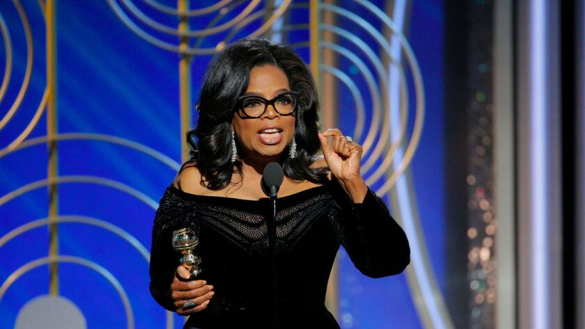 Oprah Winfrey accepts the Cecil B. DeMille Award at the Golden Globe Awards in Beverly Hills on Jan. 7.