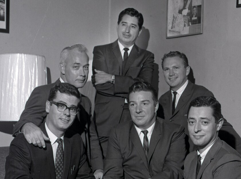 Ruben Salazar, top center, with his fellow Los Angeles Times reporters.