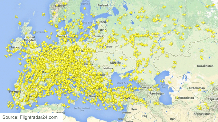 A screen shot of real-time flight movements, as tracked by FlightRadar24.com, shows a void in flight patterns over the region in eastern Ukraine where a Malaysia Airlines jet crashed Thursday.