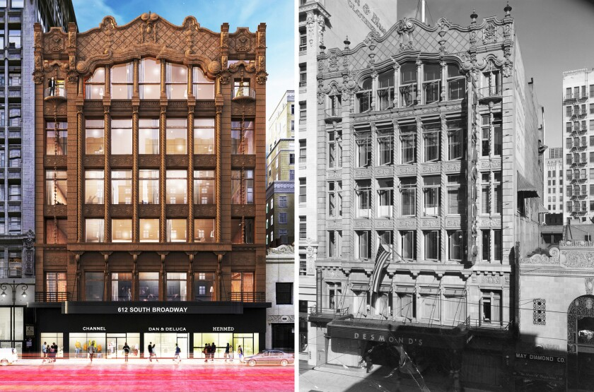 A rendering, left, shows how the former Desmond's clothing store at 616 S. Broadway in downtown Los Angeles will look after a renovation. The rendering does not show a planned two-story addition, however. At right is a 1939 photo of the building.