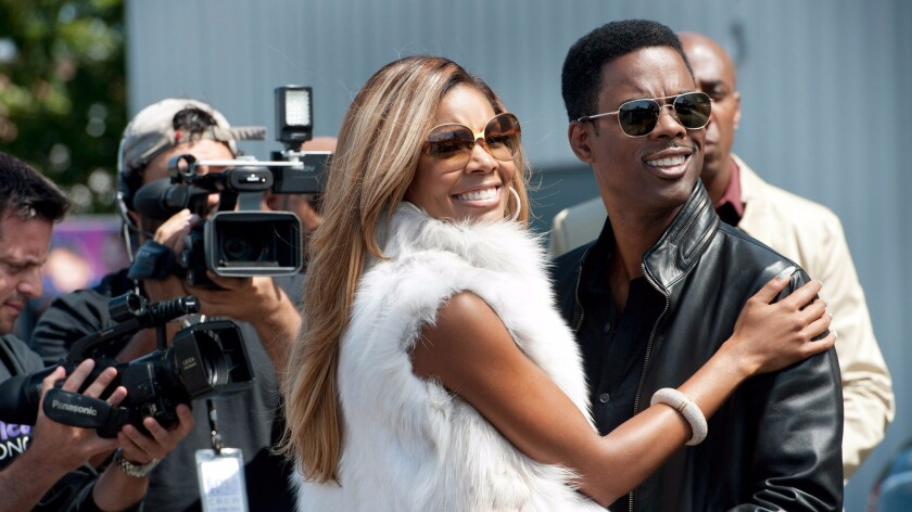 "Gabrielle Union is Erica Long and Chris Rock is Andre Allen in the movie ""Top Five."""