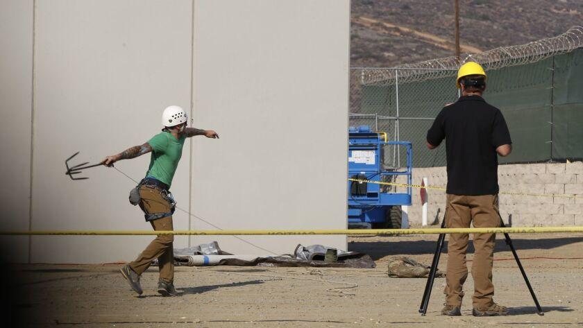 Testing the border wall prototypes.