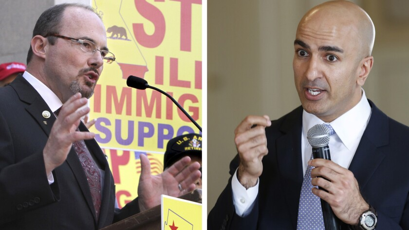 GOP Assemblyman Tim Donnelly, left, and businessman Neel Kashkari, a fellow Republican, will compete in the June 3 primary for the chance to challenge California Gov. Jerry Brown in his bid to win reelection.