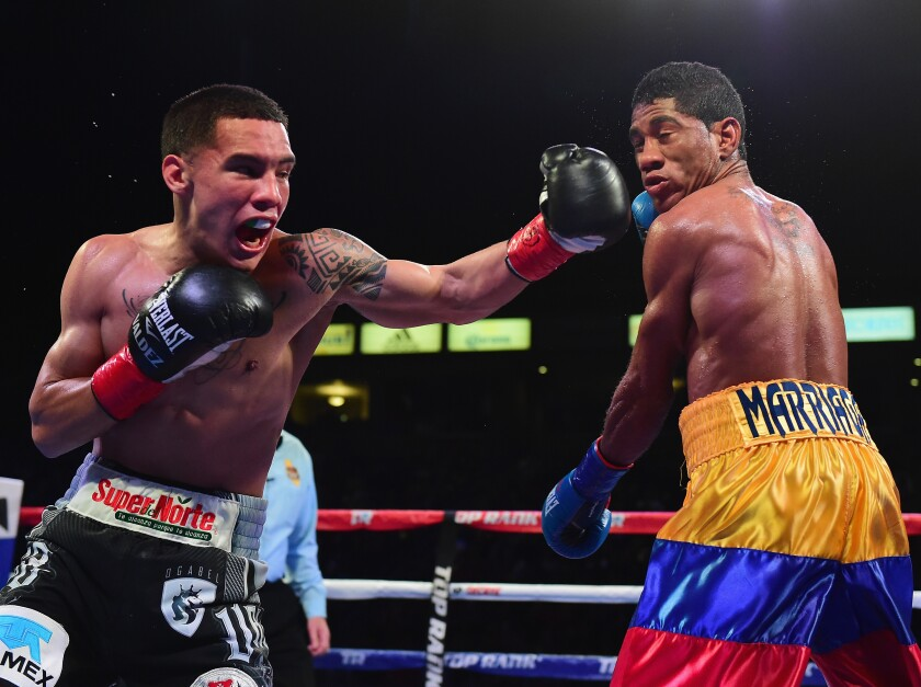 Oscar Valdez delivers a left cross to Miguel Marriaga during a 12-round victory by decision in Carson in 2017.