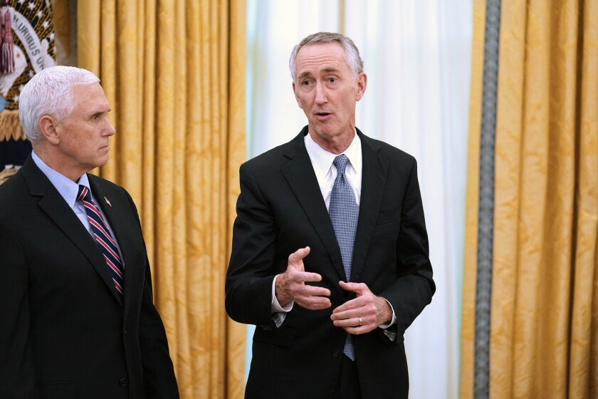 Gilead CEO Daniel O'Day and Vice President Mike Pence