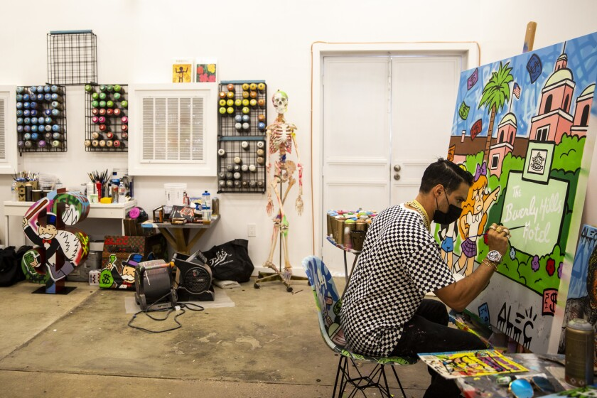BEVERLY HILLS, CALIF. - OCTOBER 30: Artist Alec Monopoly poses for a portrait at his studio, on Tues