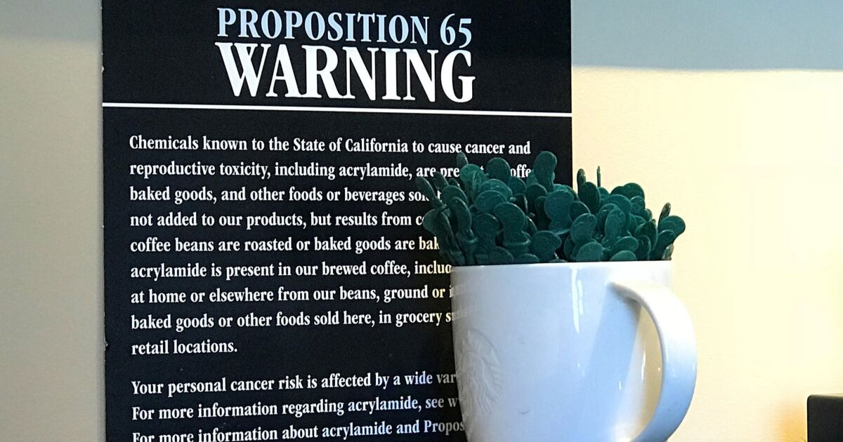 Op-Ed: Cancer warnings for coffee may be overkill, but Proposition 65 is not