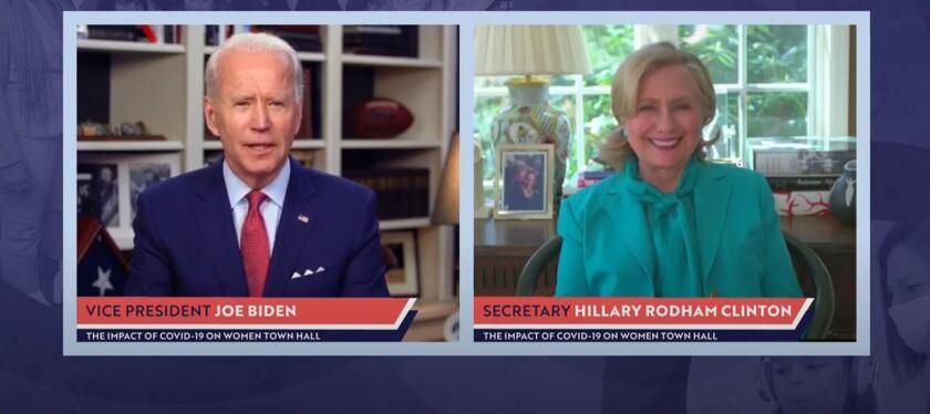 Hillary Clinton joins Joe Biden during a livestreamed town hall