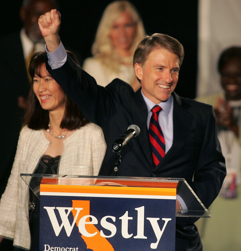 Former California gubernatorial candidate Steve Westly and his wife, Anita Yu Westly, greet his supporters on election night in 2006. Westly is again considering a run for California governor.