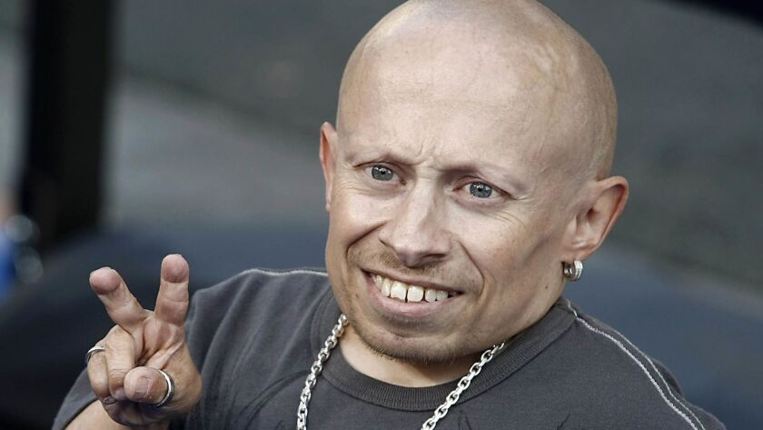 FILE- In this June 11, 2008 file photo, actor Verne Troyer poses on the press line at the premiere o