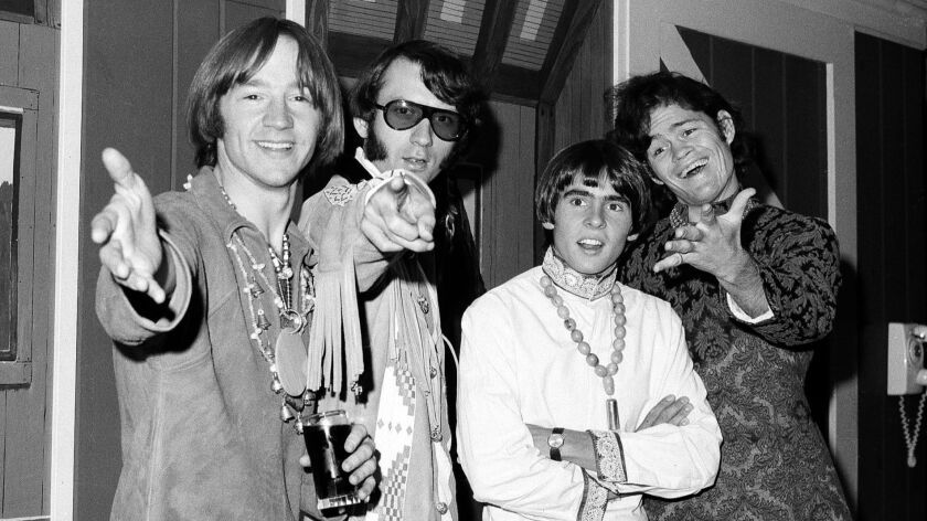 FILE - This July 6, 1967 file photo shows, from left, Peter Tork, Mike Nesmith, David Jones and Mick