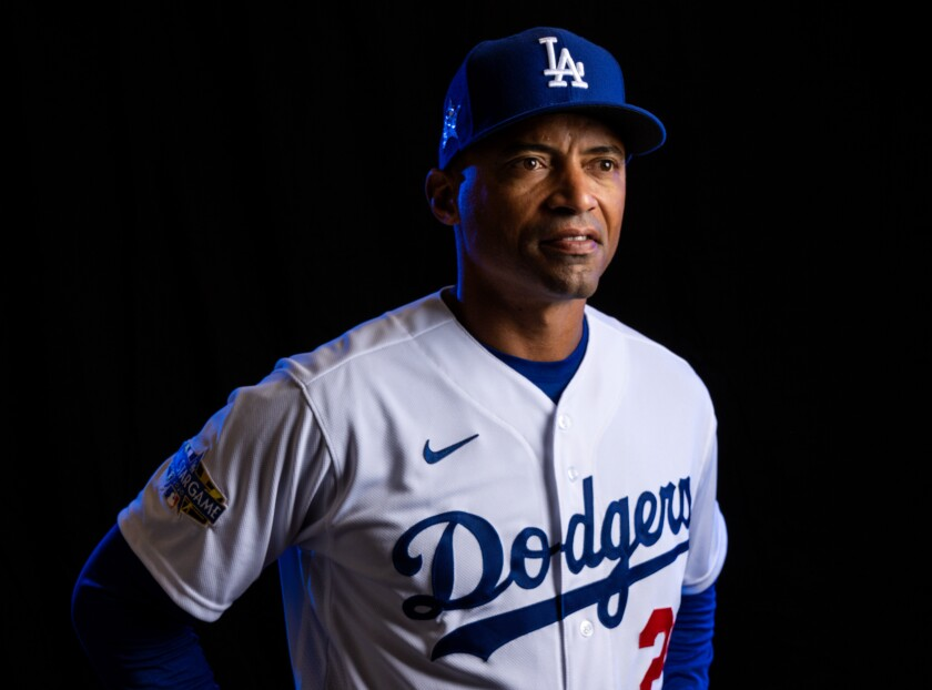 Dodgers first base coach George Lombard