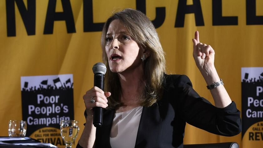Democratic presidential candidate and author Marianne Williamson.