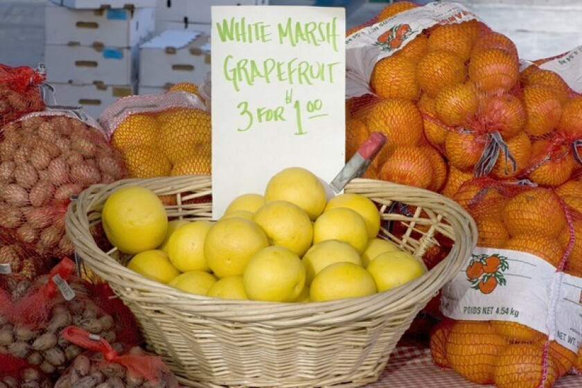 Marsh white grapefruit grown by Scott Peacock in Dinuba are still pretty tart, but there are some customers who like it that way.