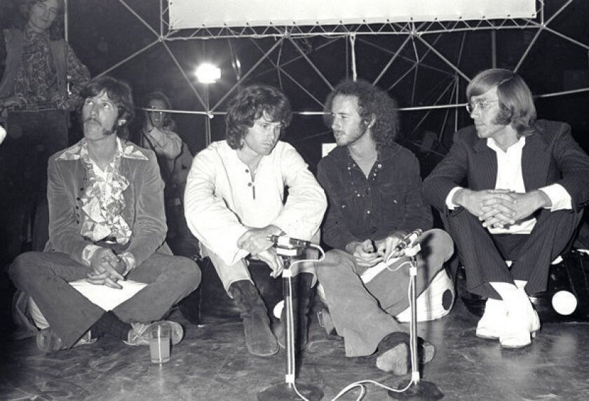 Ray Manzarek, far right, with the rest of the Doors: John Densmore, from left, Jim Morrison and Robby Krieger in London in 1968.