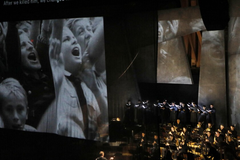 Amid video by Will Duke in Walt Disney Concert Hall, Esa-Pekka Salonen conducts the second of two programs centered on the Weimar Republic and the culture of Germany before the rise of Hitler as chancellor.
