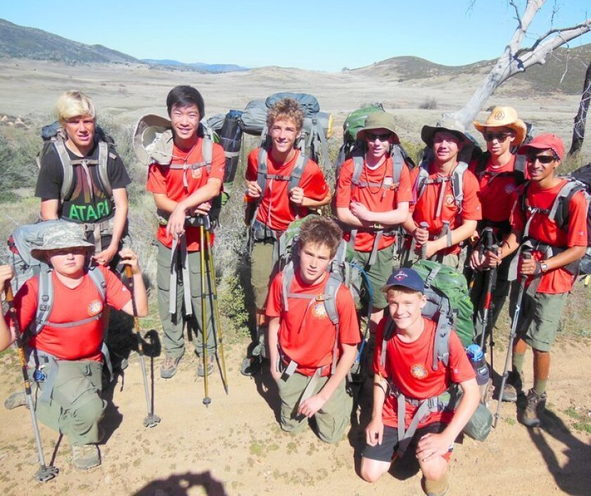 Boy Scouts from Troop 4 La Jolla embark on a 3-day hike, 30 miles from Descanso to the Anza Borrego Desert in February 2015. Front row: Erik Ortlieb, Nick Holden and Cade Kronemyer. Back row: Arthur Champion, Juntai Zheng, Griffin Young, Ryan Finley, Shane Pauker, Kaiden Marouf and Sajan Alagiri