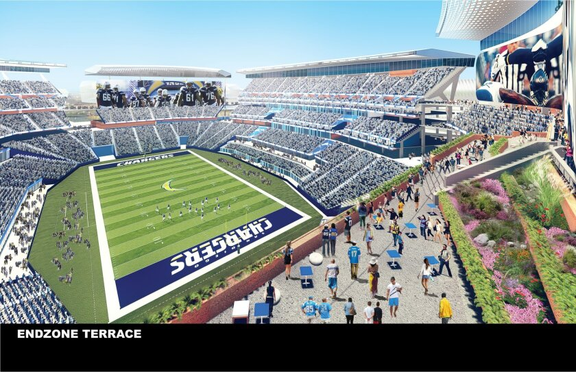 Artist rendering shows a view of the Mission Valley stadium proposed by the city and county of San Diego. (Populous/City and County of San Diego via AP)