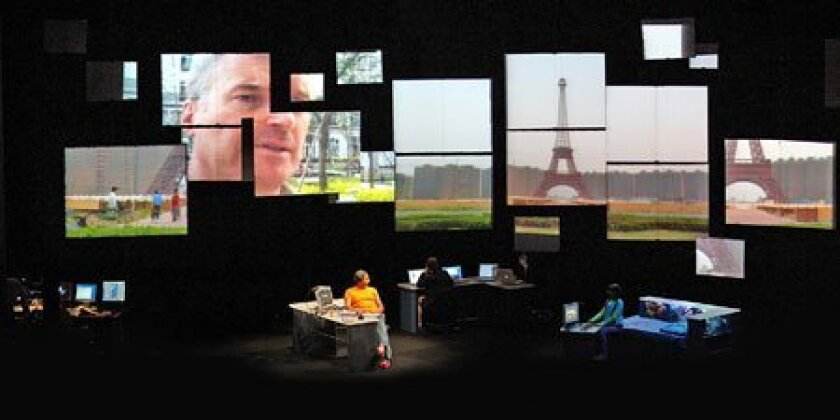 """Globe-trotting citizens and sprawling metropolises help form the backdrop  of """"Continuous City,"""" a highly digitized theatrical piece touching down this  week at La Jolla Playhouse."""