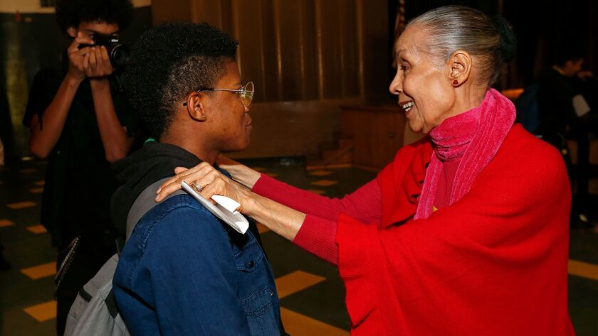 """De Lavallade, 85, and 9th-grader Brandon Robinson, who said the dancer's message touched him """"at the heart."""""""