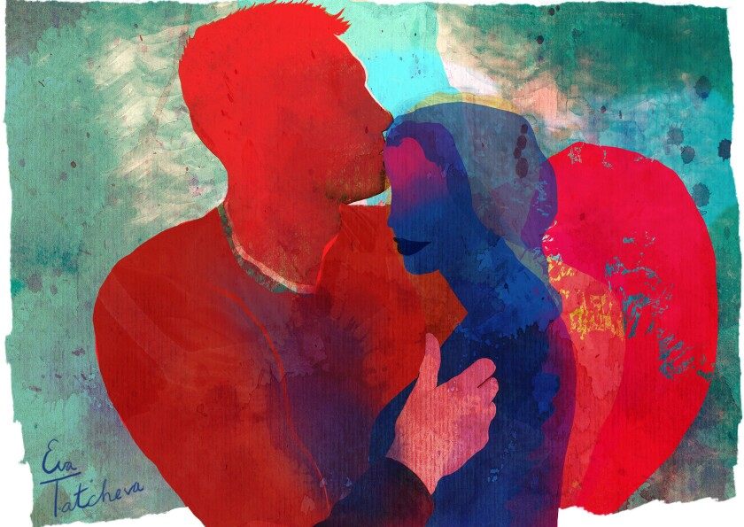 Illustration of a man kissing a woman's forehead.