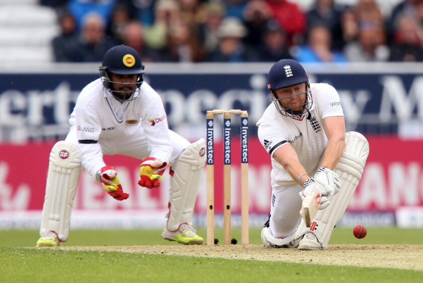 England's Jonny Bairstow plays a shot against Sri Lanka during day one of the first cricket Test at Headingley, Leeds England, Thursday May 19, 2016. Sri Lanka will play England in a three match series this summer.(Simon Cooper/PA via AP) UNITED KINGDOM OUT