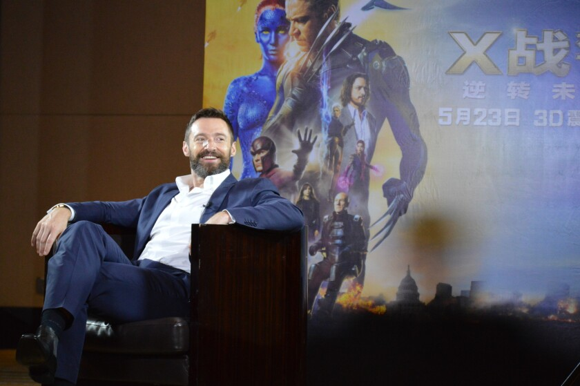 """Hugh Jackman, who plays Wolverine in """"X-Men: Days of Future Past,"""" is interviewed in Beijing during a publicity tour for the film."""