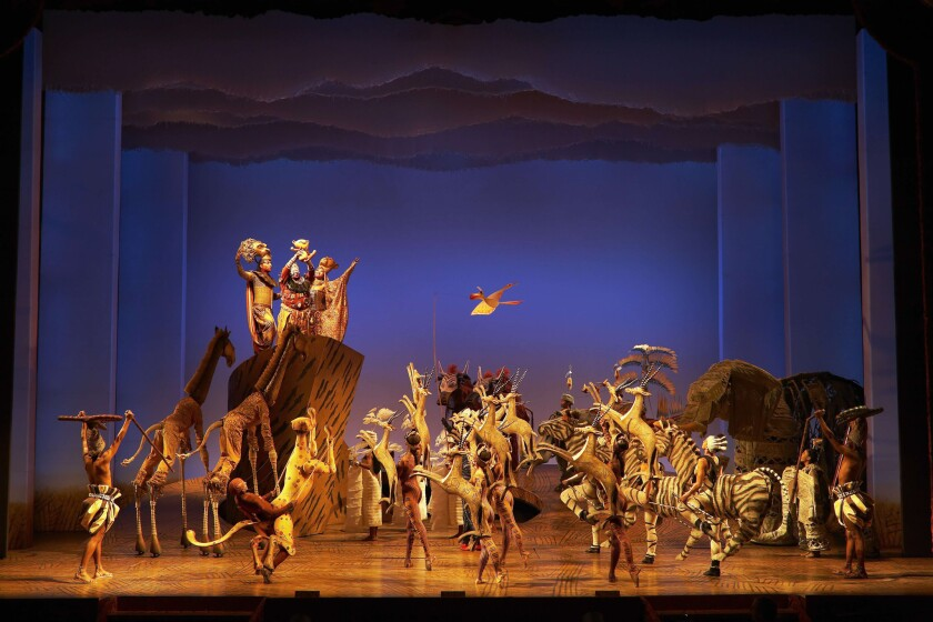 """A scene from Disney's """"The Lion King,"""" currently running at the Minskoff Theatre in New York."""