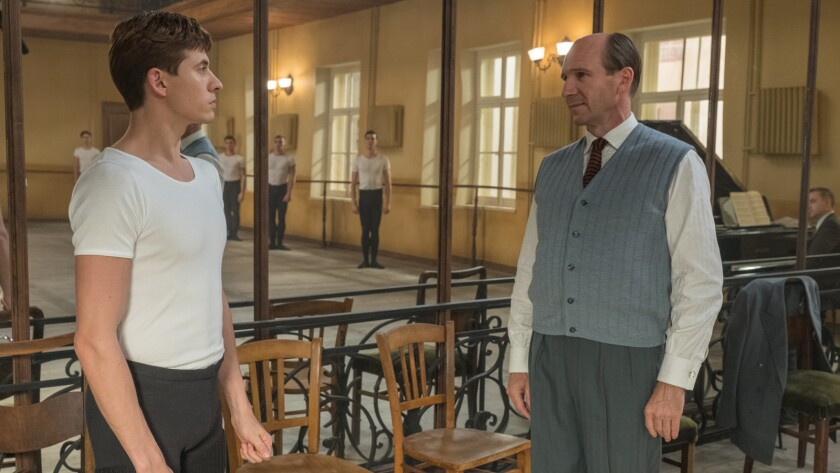 """(L-R)- Oleg Ivenko as Rudolf Nureyev and Ralph Fiennes as Alexander Pushkin in a scene from """"The Wh"""