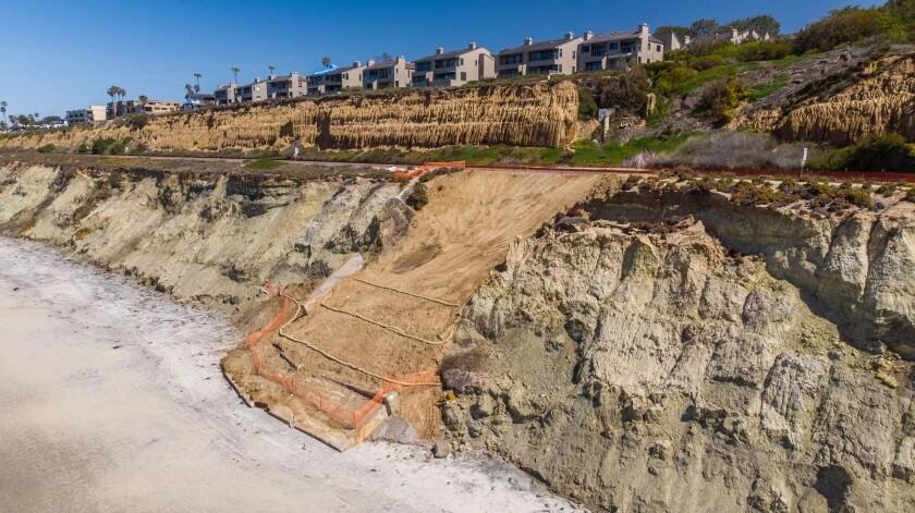 Bluff repairs were underway March 19 on the coastal bluffs below the train tracks in Del Mar.