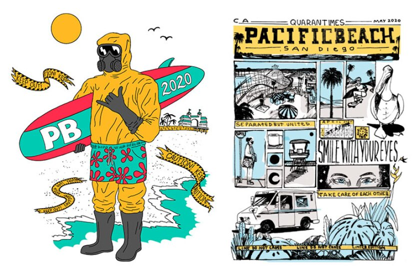 "Charlie Nieto's hazmat surfer (left) and Victor Garcia's ""QuaranTimes"" are featured on shirts the Pacific Beach Town Council is selling."