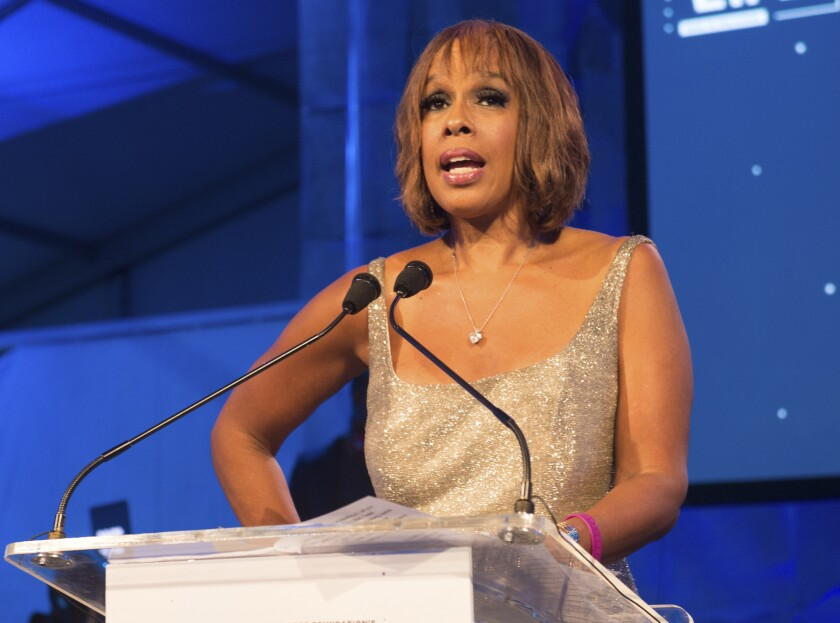 """FILE - This July 16, 2016 file photo shows """"CBS This Morning"""" host Gayle King speaking at the 2016 Art For Life Benefit in Water Mill, N.Y. In the wake of a social media backlash, King says she is embarrassed and angry with how the network promoted part of her interview with WNBA star Lisa Leslie that concerned the late Kobe Bryant. A video clip distributed on CBS News' social media accounts, taken from a wide-ranging """"CBS This Morning"""" interview that aired Tuesday, Feb. 4, 2020, focused on Leslie addressing a sexual assault charge that had been brought against Bryant and dismissed. In the interview, King asked Leslie whether Bryant's legacy had been complicated by the assault case. Leslie said it hasn't, and called on the media to be more respectful of Bryant's memory. Bryant was killed in a helicopter crash on Jan. 26. (Photo by Scott Roth/Invision/AP, File)"""