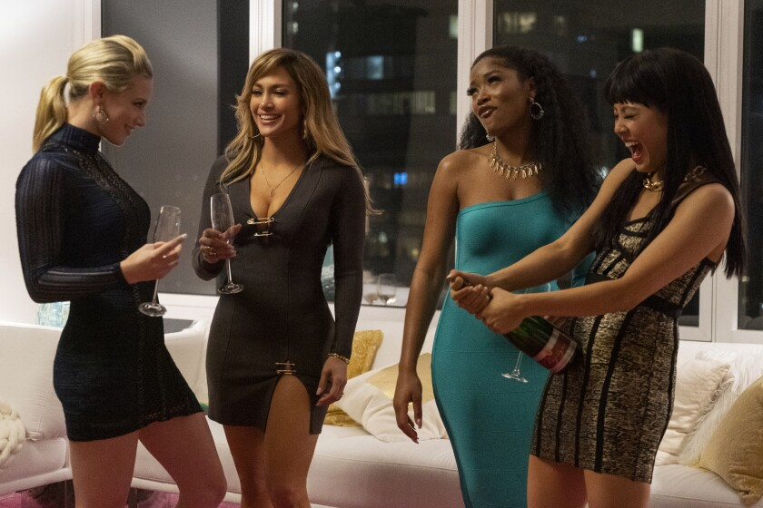 "Lili Reinhart, left, Jennifer Lopez, Keke Palmer and Constance Wu in ""Hustlers."""
