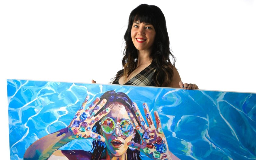 Sarah Stieber, one of eight Mission Federal ArtWalk Featured Artists this year, is a contemporary artist and will be performing a live visual art performance.