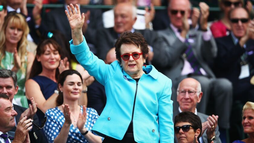 Billie Jean King is introduced to the crowd last month at Wimbledon. The 12-time Grand Slam winner recently had the Girls 18s and 16s National Championships in San Diego named after her.